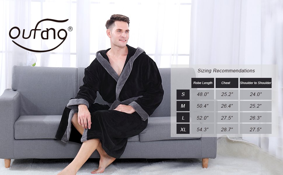 Oufang Mens Bathrobe Size Recommendation