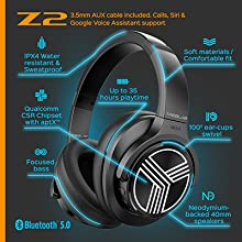 Z2 wireless noise cancelling headphones bluetooth: Specification