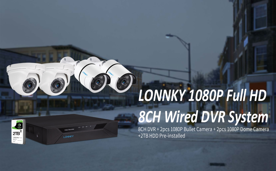 1080P 8CH DVR with 2PCS Bullet Cams and 2PCS Dome Cams and 2TB HDD