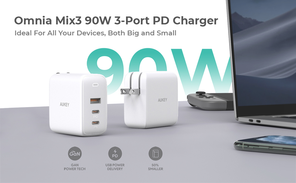 AUKEY USB C CHARGER LAPTOP IPHONE FAST CHARGER 2