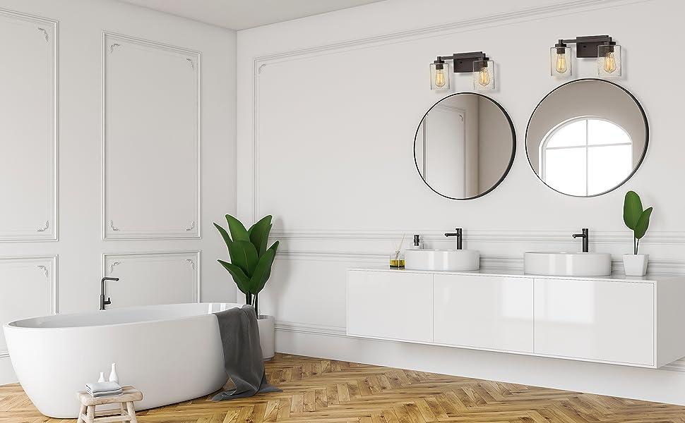 Beionxii 2 Light Bathroom Vanity Lights Vintage Wall Sconce Oil Rubbed Bronze