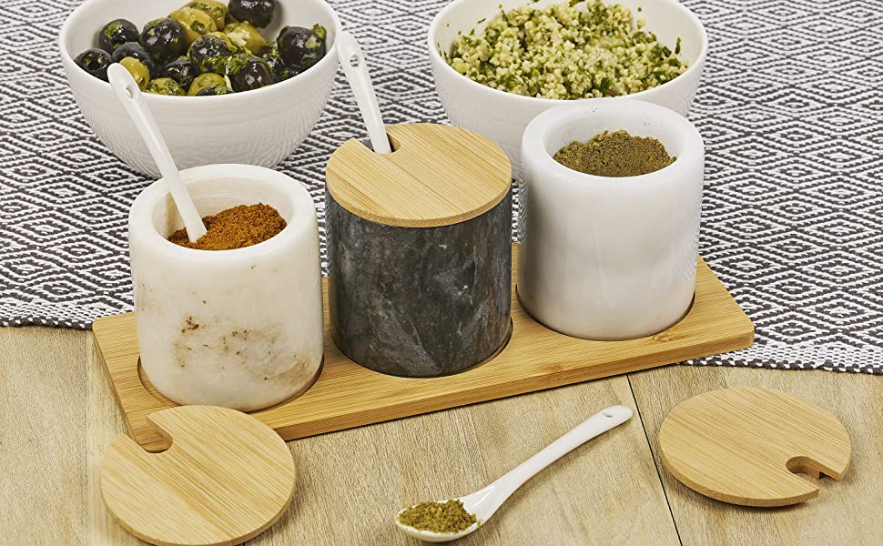 homiu kitchen table natural marble spice pots holders presentation classic