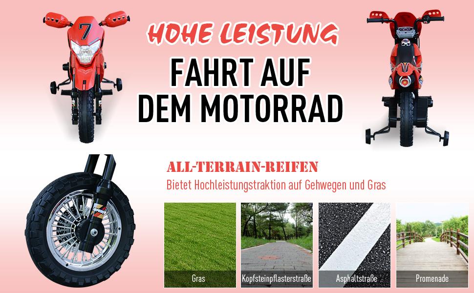 Elektro-Motorrad Kindermotorrad Elektrofahrzeug 3 bis 6 Jahre 3–6 km/h MP3