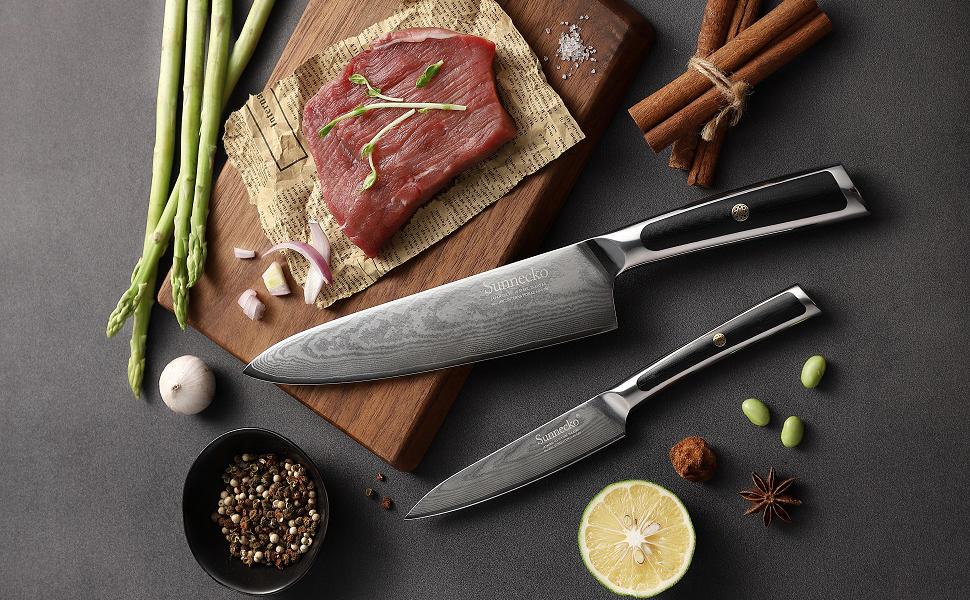 Sunnecko Cuchillo de Cocina 20 cm Damasco Cuchillos de Cocinero Professional cuchillo chef, Acero de Damasco Japonés VG-10, Navaja afilada para carne, ...