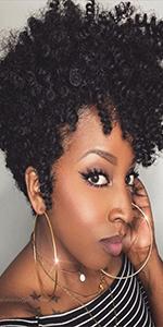 BLACK SHORT CURL CROCHET HAIR