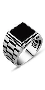 925 Sterling Men's Jewelry Ring with Black Onyx Stone