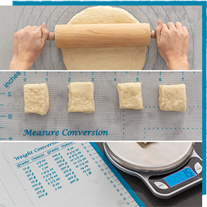 Our silicone baking mat features convenient conversion charts
