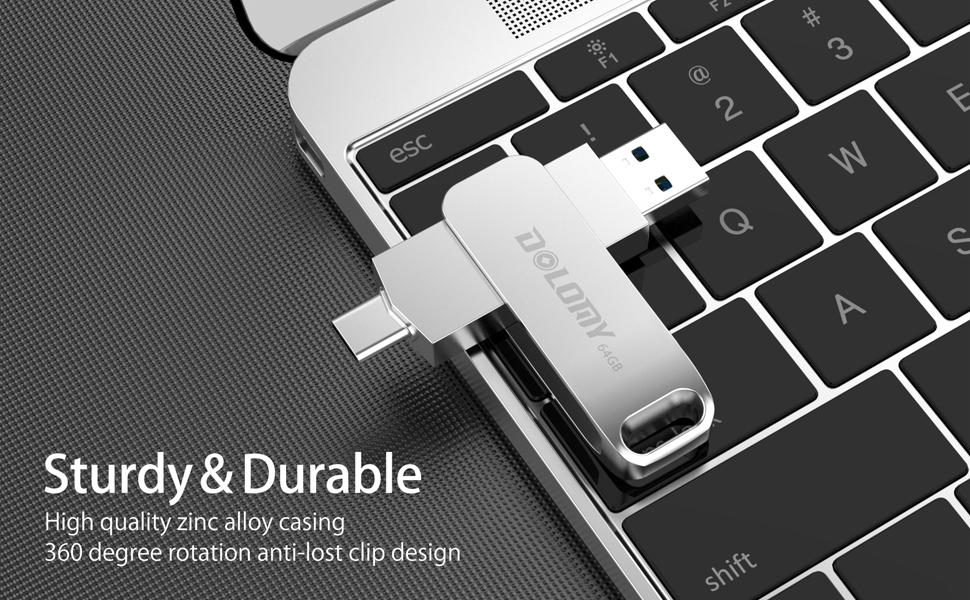 64GB USB 3.1Type C Flash Drive, 2 in 1 OTG Dual Thumb Drive, Metal USB C Pen Drive for MacBook Air