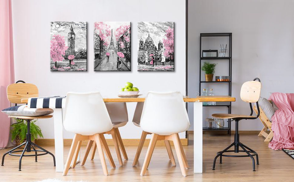 Amazon Com Black And White Canvas Wall Art For Living Room Bedroom Bathroom Girls Pink Paris Theme Room Decor Oil Painting Print London Big Ben Tower Eiffel Painting For Wall Decor Pink Posters