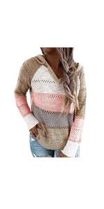 Colorblock Crochet Pullover Hoodie