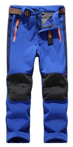 Kids Boy's Youth Fleece Lined Windproof Waterproof Hiking Ski Snow PantsElastic Waist Warm Insulated