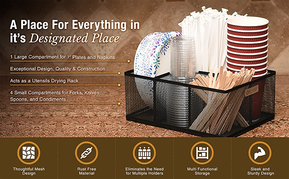 Spoons Organizer Caddy with 5 Slots for Cups Forks Condiments and More ELTOW Cutlery Utensil Holder Plates Home and Kitchen D/écor Napkins Mesh Holder is Excellent for Silverware Organization