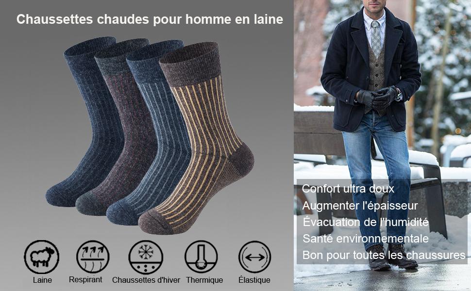 3 Paires Femme Chaussettes Thermique Design Animal Chaud Hiver très épais Chaussures de randonnée
