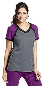 barco grey's anatomy active 41435 women's tri-color v-neck scrub top