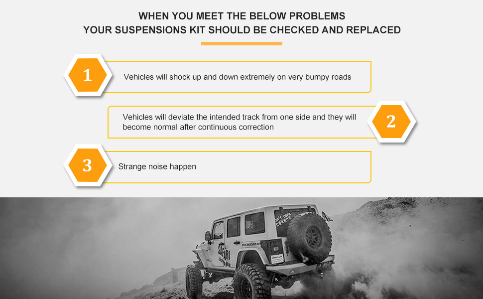 When you meet the below problems, your suspensions kit should be checked and replaced.