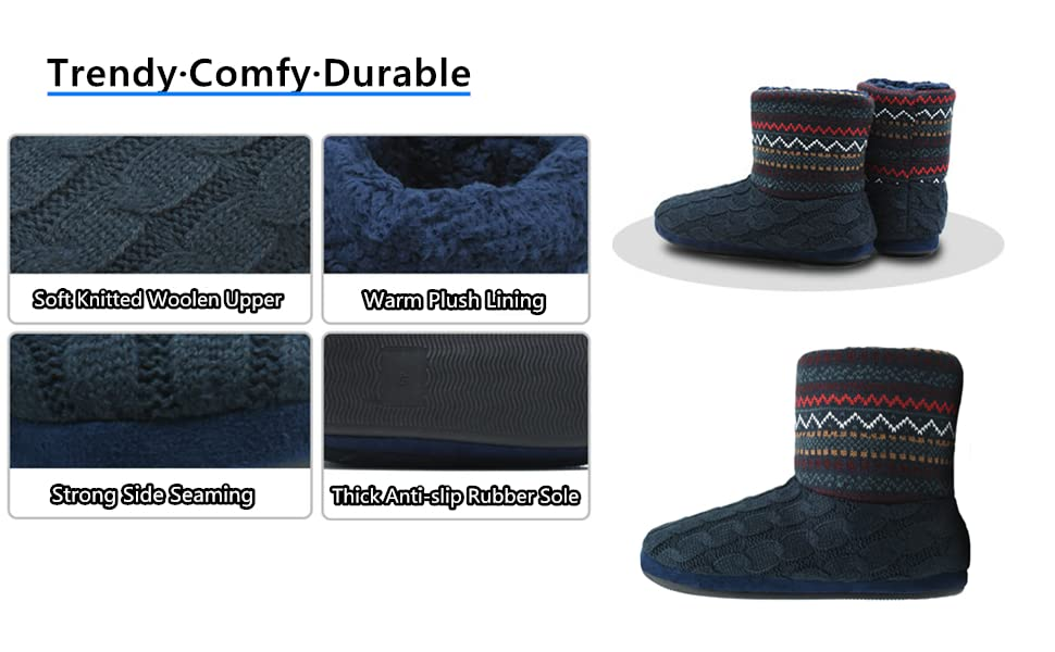 mens boot slippers house shoes ankle bootie