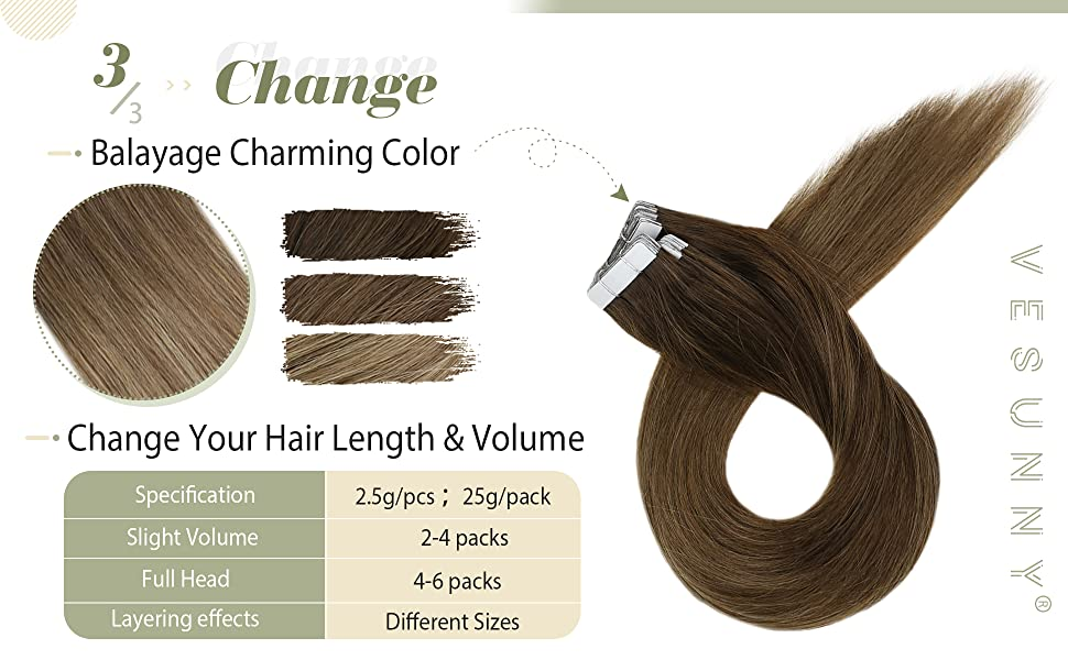 Balayage Brown Hair Extensions Tape in Human Hair