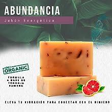 Jabón orgánico Vegano natural, aceites esenciales, aromaterapia, Toronja Romero, Energía Positiva