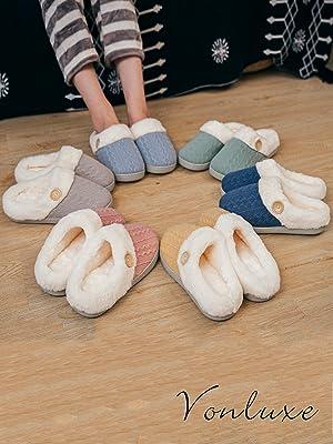 Women's Cozy Memory Foam Slippers Fuzzy Wool-Like Plush Fleece Lined House Shoes w/Indoor, Outdoor