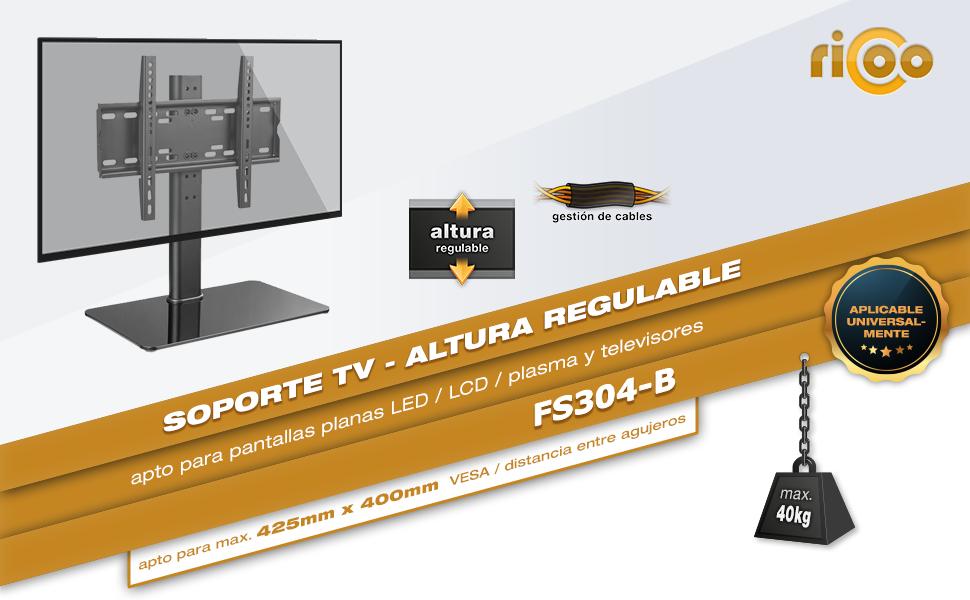RICOO FS304-B, Soporte TV, Base de pie, Pedestal Suelo, Televisión ...