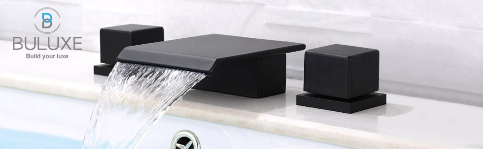 Matte Black Waterfall Widespread Bathroom Sink Faucet Double Handle Three Hole