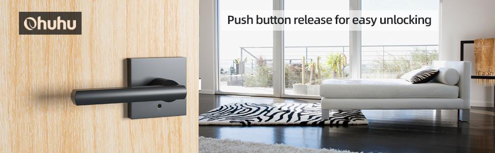 dormitorio de acero s/ólido ba/ño 607 Pomo para puerta de privacidad con bola color negro mate manija de puerta de seguridad interior para trastero