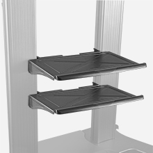 Two steel AV shelves