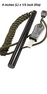 bayite 1/2 x 6 Inch Survival Drilled Flint Starter Ferrocerium Rod Paracord fire steel rod striker
