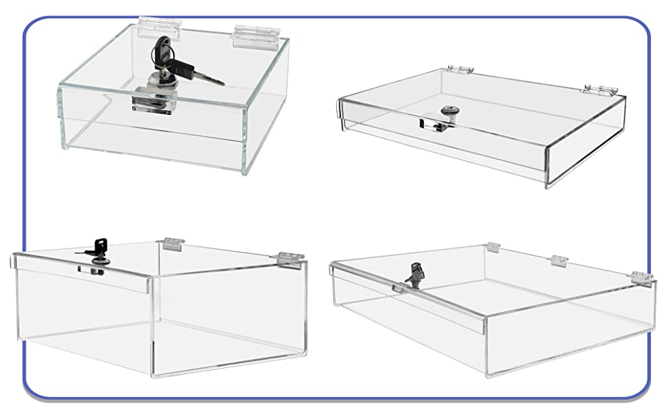 Marketing Holders Security Lock Boxes Clear Acrylic