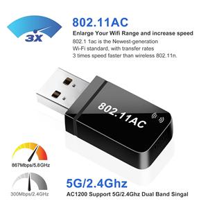 867Mbit/s , 400Mbit/s 802.11ac, USB 3.0,  WLAN Adapter unterstützt Windows 10/8.1/8/7/XP,Mac OS X