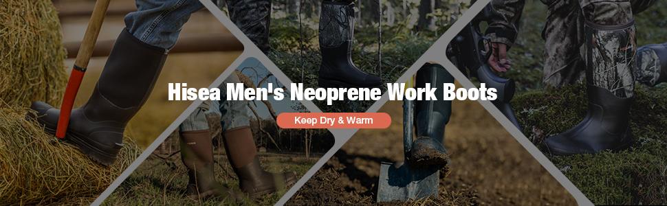 hisea work rubber rain boots