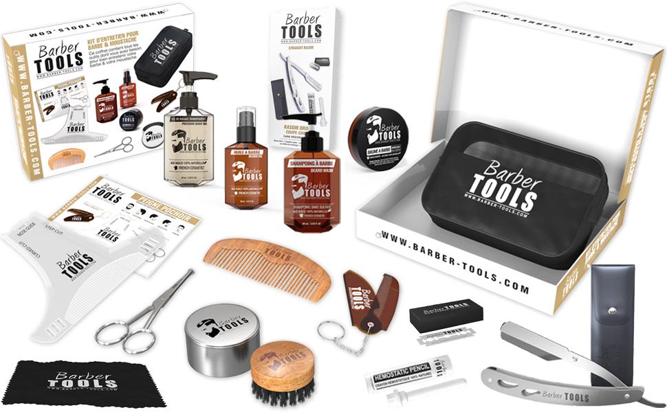 ✮ BARBER TOOLS ✮ Kit/Set/Estuche de arreglo y cuidado de la barba y afeitarse | Cosmético Made in French: Amazon.es: Belleza