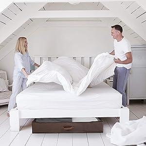 AYUQI Unterbettkommode Unterbett 3 St/ück Premium Unterbett Aufbewahrungstasche aus Vliesstoff mit Gro/ßem Durchsichtigen Fenster f/ür Kleiderdecken Schr/änke Schlafzimmer