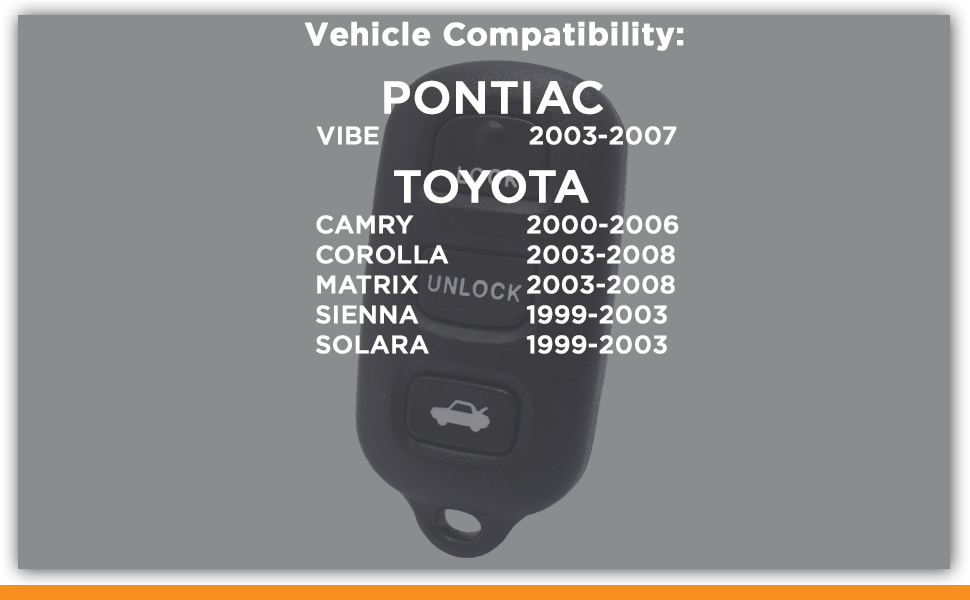 Suuonee 2 Button Remote Car Key Car Keyless Entry Remote Control HYQ12BBX HYQ12BAN HYQ1512Y for Toyota Tundra 2004-2006