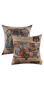 LINKWELL Set of 2 Route 66 Decorative Pillow Cover
