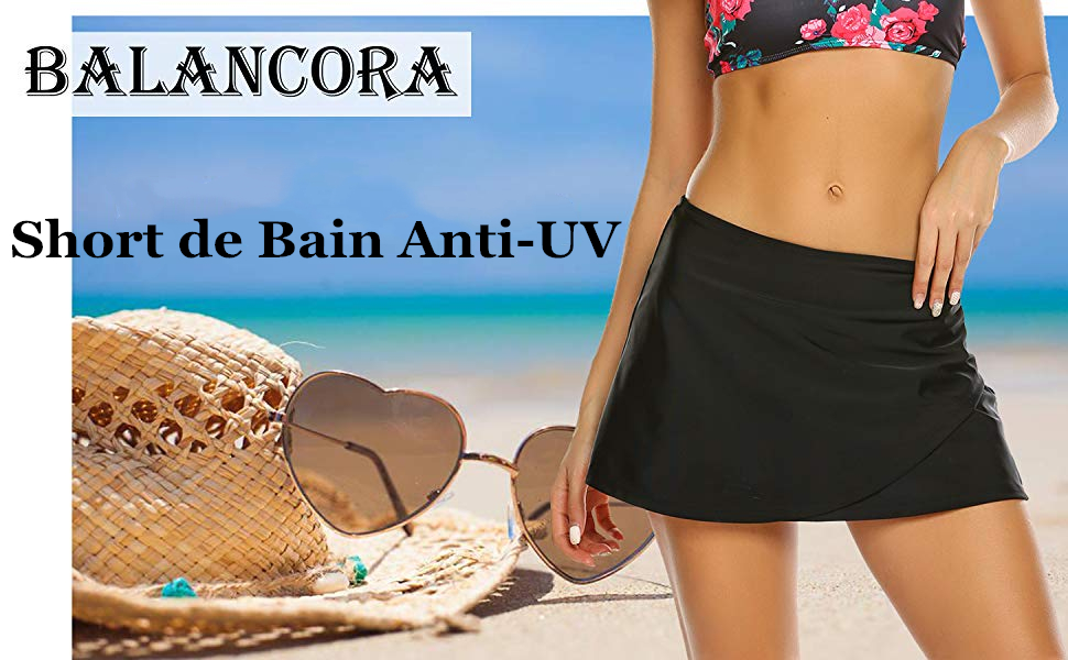 Balancora Femme Short de Bain Anti UV Bas de Maillot de Bain Pantalon de Survêtement à Séchage Rapide pour Plage, Baignade, Vacances S XXL