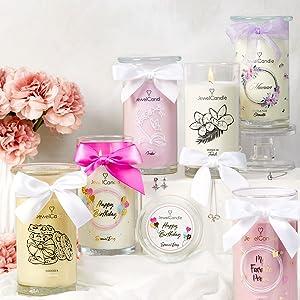 Jewelcandle bougie en pot jarre decorative parfumées cire bijoux meilleur cadeau cadeaux idées