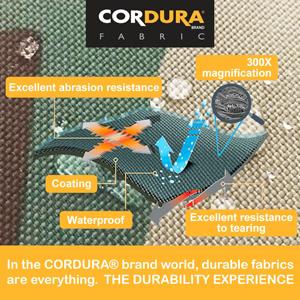 made of military black cordura fabric heavy duty durable versatile rugged waterproof lightweight