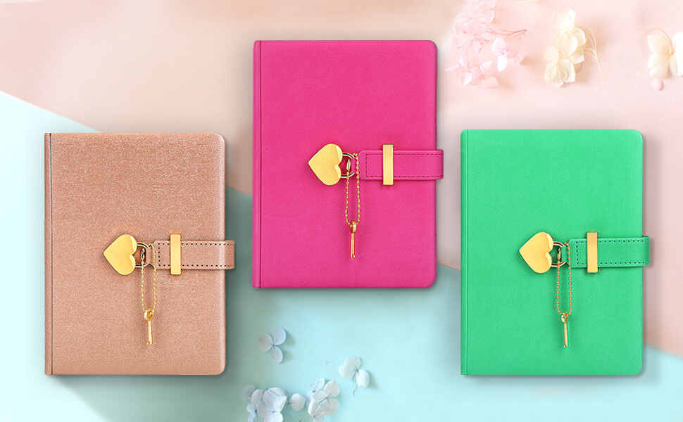 PU B6 Journal Colorful Heart-shaped Lock Notebook Planner