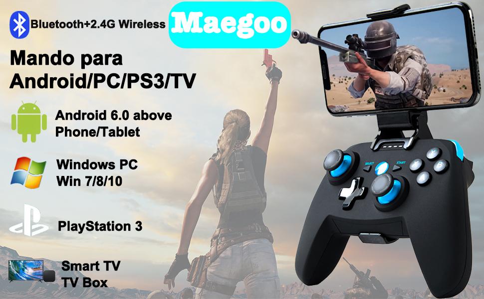 Mando para Android/PC/PS3/TV Inalámbrico, Maegoo Bluetooth Android Móvil Mando de Juegos con Soporte Retráctil, 2.4G Inalámbrico PC/PS3/TV Mando Controlador Gamepad con Doble Vibración: Amazon.es: Videojuegos
