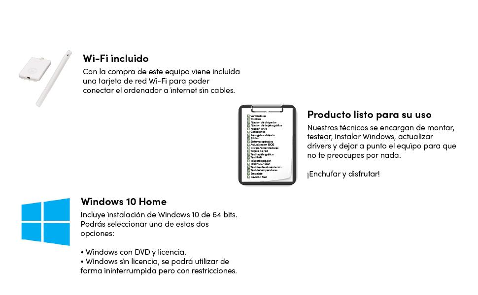 extras, windows 10, wifi incluido