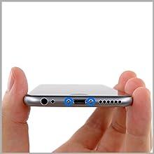 MMOBIEL Repuesto Conector Dock de Carga Compatible con iPhone 6 (Negro/Space Grey), Incl. 2 X Destornilladores