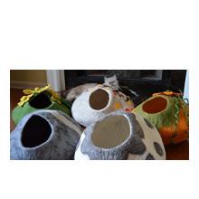 felted wool cat cave bed earthtone solutions merino nepal natural kitten fleece igloo hut cocoon