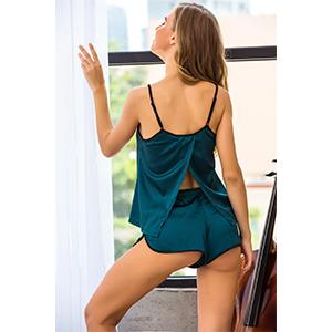 Ekouaer Womens Sexy Sleepwear Lingerie Satin Pajamas Cami Shorts Set Nightwear S-XXL