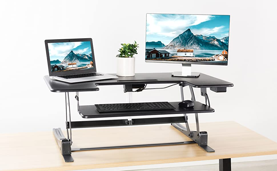 "VIVO Black Electric Height Adjustable Extra Wide 42/"" Stand Up Desk Converter"