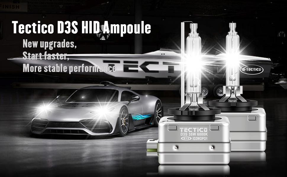 TECTICO D1S 6000k Xenon Lampadina 12V 35W Bianco Auto Fari,Lampadine HID Alta Luminosit/à kit Lampadine per auto,2 pezzi