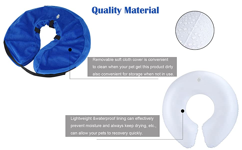 Adjustable Inflatable Dog Cone Collar, Soft Protective Pet Recovery Cone, Elizabethan Collar Cats