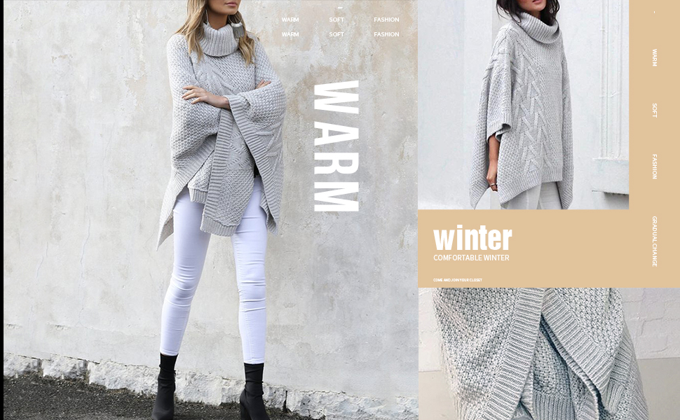 Asymmetric Knitted Poncho Pullovers Sweater Grey sweater