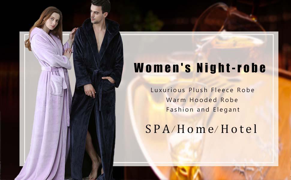 Long Hooded Robe for Women Luxurious Flannel Fleece Full Length Bathrobe