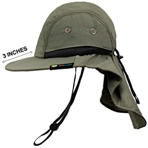 sun shade hat with 3 inch wide brim